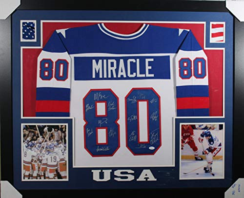 1980 USA Hockey Miracle Autographed Framed White XL Jersey 15 Sig JSA (1980 Hockey Jersey Usa Autographed)