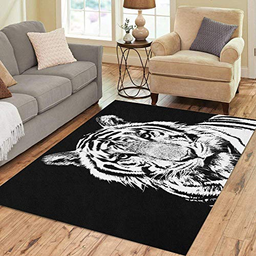 Semtomn Area Rug 3' X 5' Head Tiger Stencil Black Cat Face Sketch White Africa Home Decor Collection Floor Rugs Carpet for Living Room Bedroom Dining Room (Tiger Head Rug)