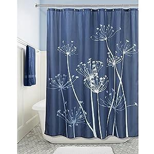 InterDesign Thistle Shower Curtain, 72 x 72-Inch, Navy/Slate Blue