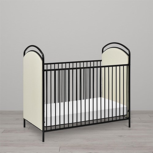 Little Seeds Rowan Valley Lotus Upholstered Metal Crib, Black - Furnishings Wrought Iron
