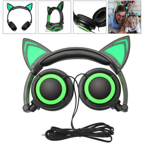 Wired Headphones Over-Ear Foldable Cat Ear Earphones with LED Light For Girls,Children.Compatible for Mp3 Mp4 player,iPhone 6S,Android Phone (green)