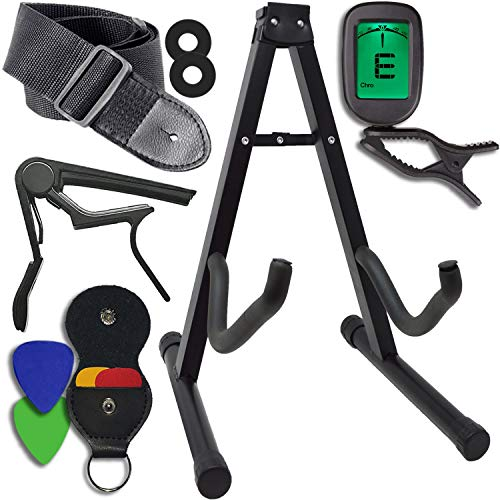 Guitar Accessories Kit - Stand, Clip-on Tuner, Strap w/Locks, Capo, 4 Assorted Picks, w/Leather Holder - For Acoustic and Electric Instruments - Great Gift For Beginners and Advanced Players