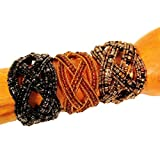 Gift Set of 3 Black Gold Handmade Seed Bead Braided Jane Style Cuff Bracelet
