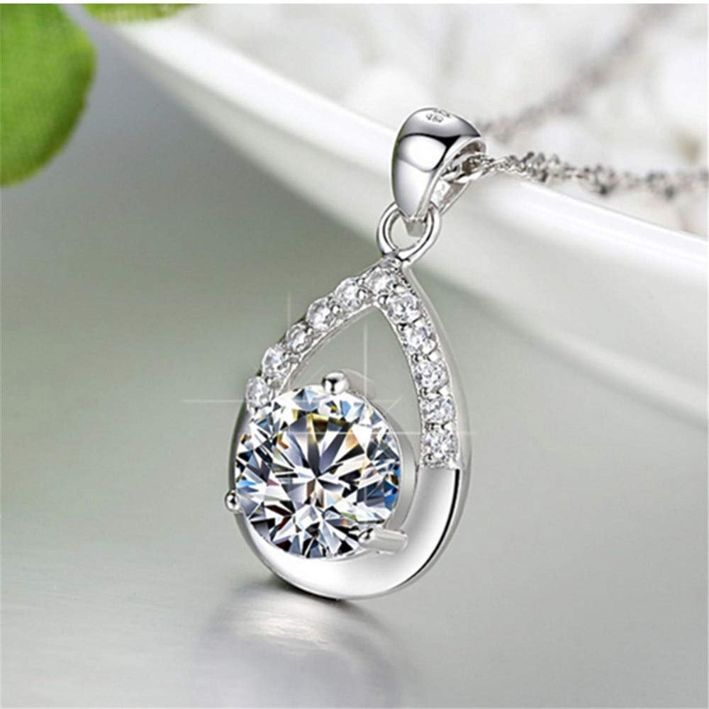 Metal Color: Light Yellow Gold Color Davitu Wholesales Jewelry White Purple Wated Drop Pendant 925 Sterling Silver Zinc Alloy Crystal Necklace Hot Wedding Jewelry for Women