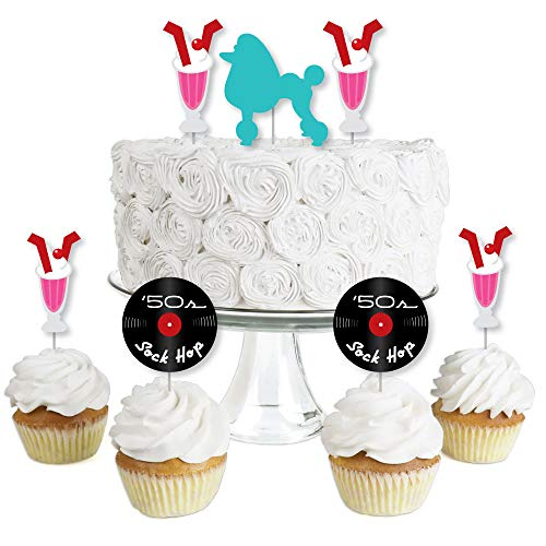 50's Sock Hop - Dessert Cupcake Toppers - 1950s Rock N Roll Party Clear Treat Picks - Set of 24]()
