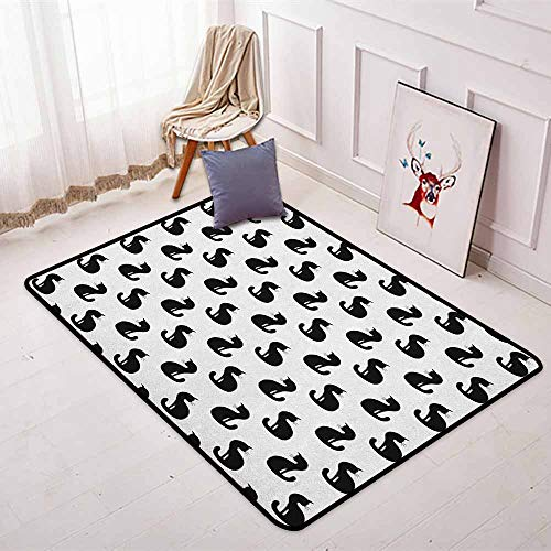 Cat 3D Printed Round Carpet Silhouette of a Kitten Monochrome Feline Pattern House Pet Illustration Halloween for Partial Areas W35.4 x L47.2 Inch Black -