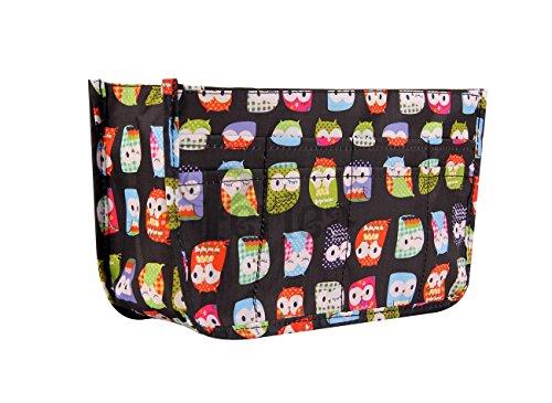 Periea Handbag Organiser - Daisy - 11 Different Colors Available in Small, Medium or Large ... (Medium, Black Owl Print)