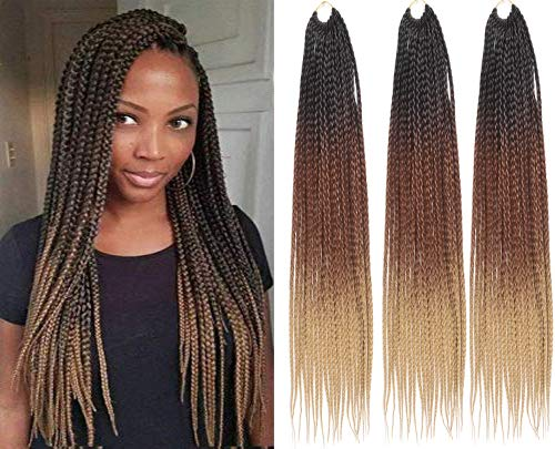 6packs 24 Inches Natural Black Senegalese Twist 3x Box Braids Crochet Hair Extensions 22strands/pack 100% Kanekalon Fiber (24