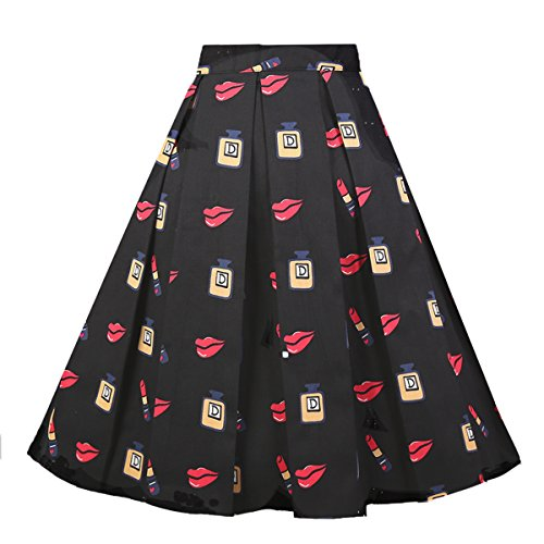 Girstunm Women's Pleated Vintage Skirt Floral Print A-line Midi Skirts with Pockets Lipstick S -