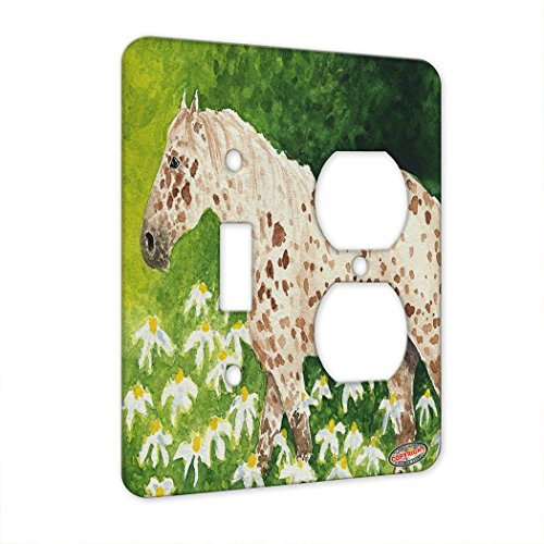 2 Gang Single Toggle/Single Duplex Wall Plate - Leopard Appaloosa Horse with Daisies Art by Denise Every