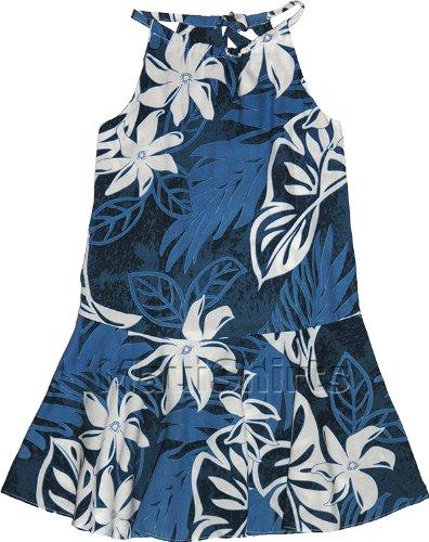 RJC Girls Tiare Monstera Drop Waist Halter Sundress Blue 2 by RJC