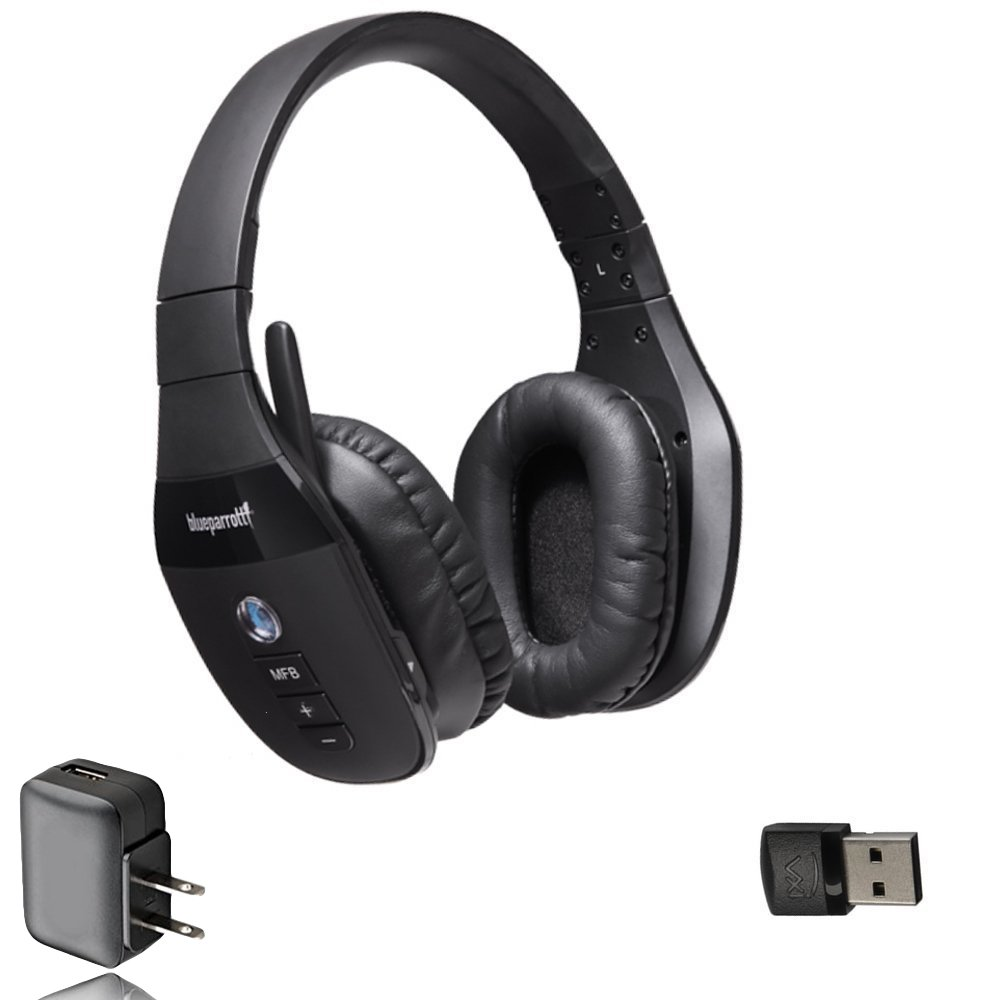VXi BlueParrott S450-XT Bluetooth Headphones Mic Headphone Bonus Bundle - USB Dongle, Wall Charger | Compatible w/Lync, Skype, Streaming, MAC, Windows, Android Phone/Tablet, iOS iPhone/iPad | 203582-B