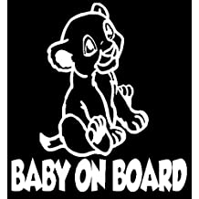 """Simba Baby On Board 6"""" White Vinyl Car Truck Decal Sticker Disney Kids Fun The Lion King Cute Awesome Adorable"""
