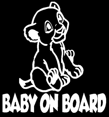 Simba Baby On Board 6 White Vinyl Car Truck Decal Sticker Disney Kids Fun The Lion King Cute Awesome Adorable Decal Davinci