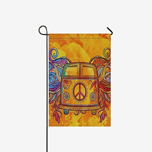 Hippie Vintage Car a Mini Van with Peace Sign Garden Flag Ho