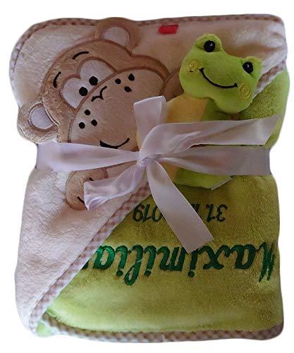 Baby Kapuzentuch Affe mit Namen bestickt Rassel Frosch gr/ün Geschenk Taufe Geburt Kapuzenhandtuch Handtuch Badetuch Kinder