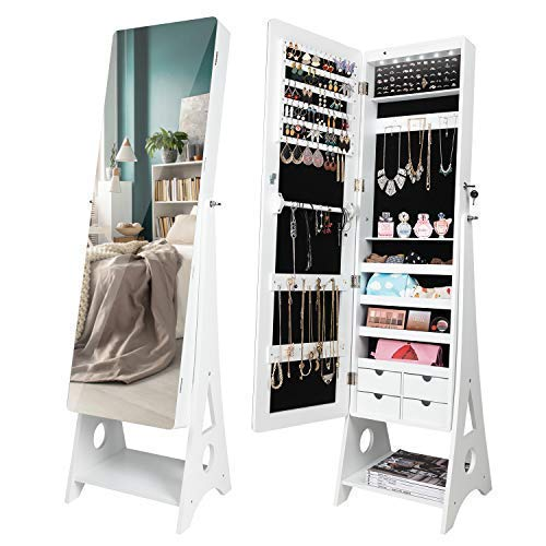 SUNCOM 6 LED Jewelry Cabinet, Full Length Mirror Standing Jewelry Armoire Lockable Storage Organizer with 4 Drawers - Jewelry Armoire Vanity Mirror