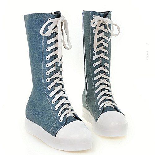 Heel Hidden Platform Zipper KemeKiss Casual Blue Shoes Women High Light Top Boots W7zSxw