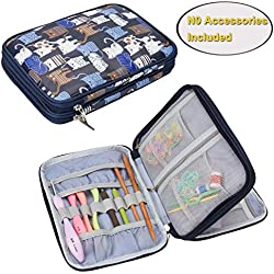 Teamoy Crochet Hook Case, Travel Storage Bag for Swing Crochet Hooks, Lighted Hooks, Needles(Up to 8'') and Accessories, Cats Blue(No Accessories Included)