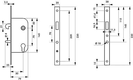 Thirard - Caja de cerradura empotrable con mentoneta v/br para puerta corredera: Amazon.es: Bricolaje y herramientas
