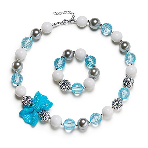 Gum Bubble Womens (VCMART Lake Blue Girl Necklace Beautiful Bow Chunky Bubblegum with Gift Box)