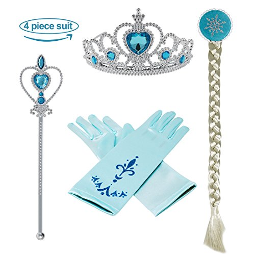 [Princess Dress up Accessories 4 Pieces Gift Set Tiara Crown Wig Wand Gloves Blue] (Elsa Costume With Wig)