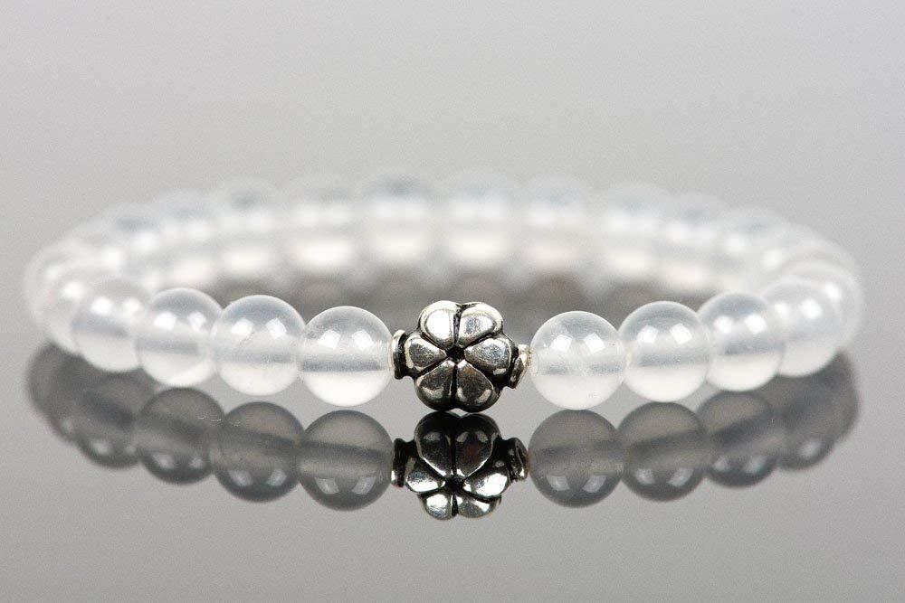 Milky Quartz Bracelet, Genuine Gemstone Bracelet, Sterling Silver Flower Bracelet, White Gemstone Bracelet