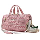 Kenox Duffle Bag Sports Gym Travel Luggage Including Shoes Compartment (Red-stripe)