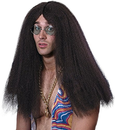 Smiffy's Men's Long Brown Hippie Wig with Centre Part, One Size, Hippy Wig, (Men Costume Long Hair)
