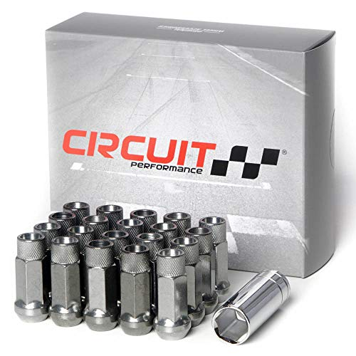 Circuit Performance Forged Steel Extended Open End Hex Lug Nut Aftermarket Wheels: 12x1.5 Hyper Black - 20 Piece Set + Tool