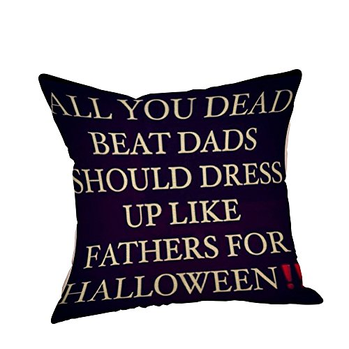Halloween Party Pillow Covers, Keepfit Home Decor Pumpkin, Black Cat, Owl and Skeleton Printed Pillow Cases (Halloween W)]()