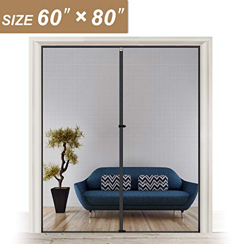 Door Net Screen with Magnet 60 x 80, French Door Mosquito Net for Doors Size Up to 60