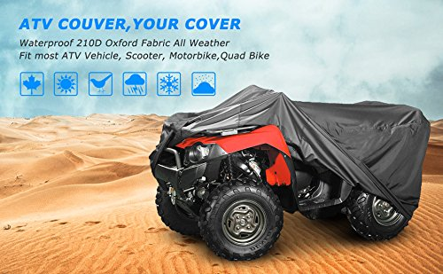 for Polaris Predator Yamaha Raptor Honda TRX Kawasaki KFX Wheel Car Black 57.09x33.46x38.58 inch NEVERLAND Waterproof Heavy Duty ATV Cover