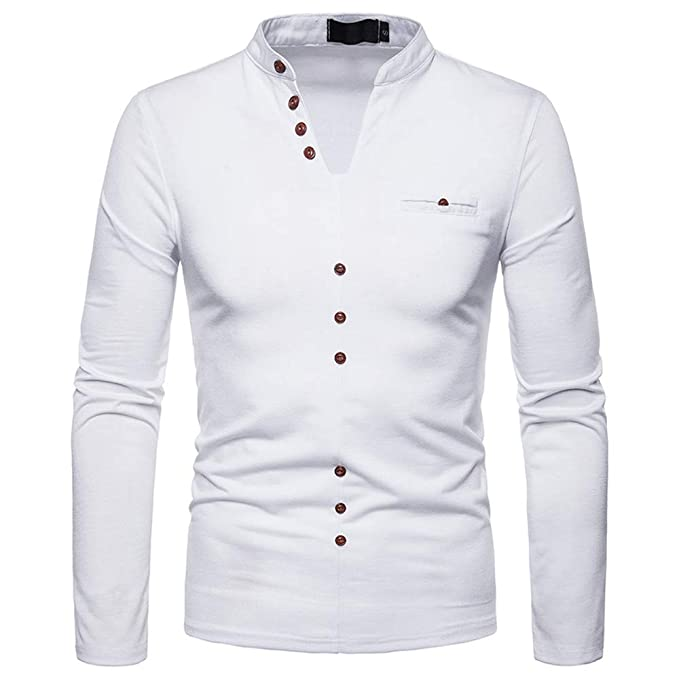 YanHoo Camisetas térmicas para Hombre Hombres Otoño Invierno Cachemir Impresión Top Hombres Manga Larga Camiseta Blusa