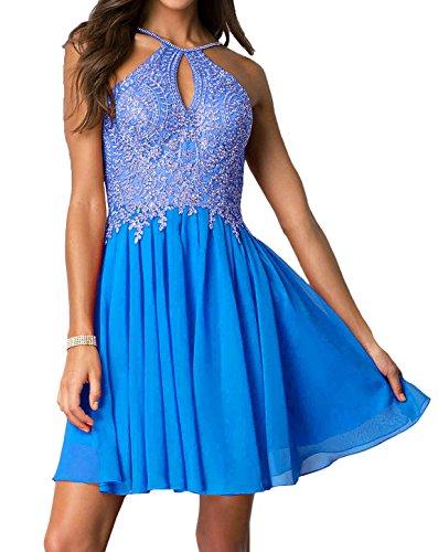 Women's A Line Chiffon Gold Lace Homecoming Dress Short Beaded Prom Dress S1 Blue US20