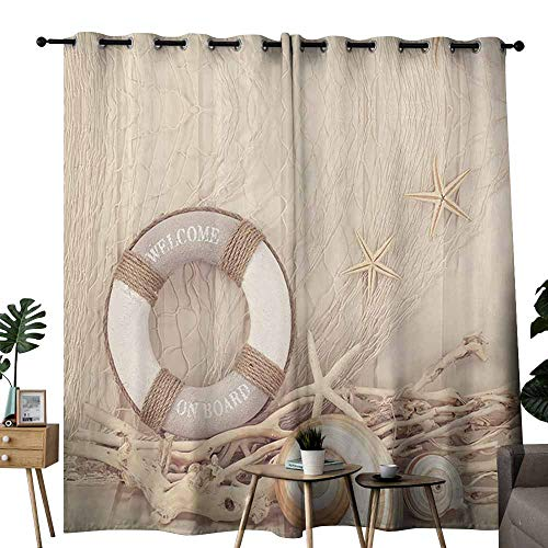 (Nautical Coastal Decor Exclusive Home Curtains Welcome on Board Buoy Wooden Sepia Fishnet Theme Pattern Provide You with a Good Indoor Environment W84 xL96 Tan Linen Ecru)