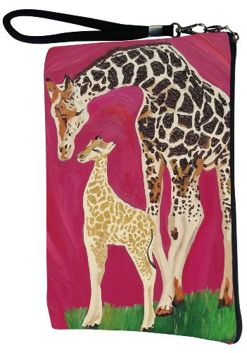 Giraffe Large Vegan Wristlet, Pencil Bag, Cosmetic Bag - From My Original Painting, Full - Giraffe Tote Bags