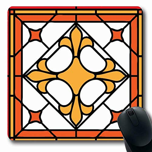 Ahawoso Mousepads Curl Green Border Cross Lilly Stained Glass Frame Orange Pattern Garden Window France Floral Design Oblong Shape 7.9 x 9.5 Inches Non-Slip Gaming Mouse Pad Rubber Oblong - Stained Lilly Glass