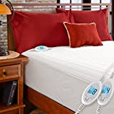 Simple Comfort Quilted Electric Heated Mattress Pad with SENSOR-SAFE Overheat Protection Technology (King Size w/Dual Controllers)