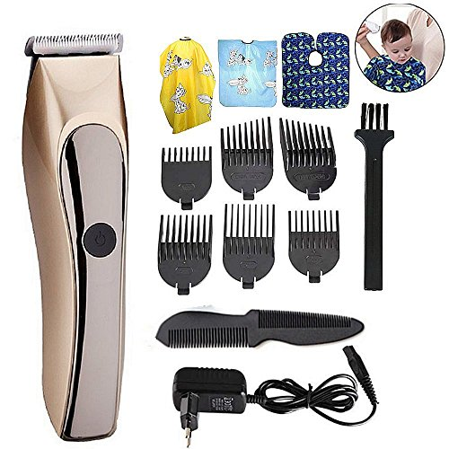 Full Waterproof Rechargeable hair clipper trimmer ceramic head cutting low noise infant precision clipper professional baby Adult barber hair cutting machine Salon Apron with Limit Combs (Golden) (And Is Ceramic Advanced Clipper)