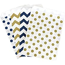 Navy Blue Gold and White Paper Treat Sacks - Chevron Polka Dot Favor Bags - 5.5 x 7.5 Inches - 48 Pack
