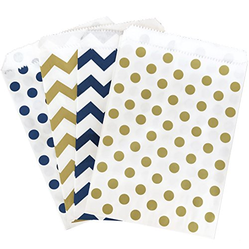 Outside the Box Papers Navy Blue Gold and White Paper Treat Sacks - Chevron Polka Dot Favor Bags - 5.5 x 7.5 Inches - 48 Pack for $<!--$10.99-->