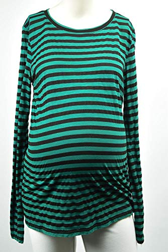 Michael Stars Maternity Shamrock Green OSFA Striped Crew t-Shirt top