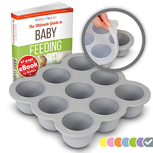 KIDDO FEEDO Multipurpose Tray for Freezing Baby Food, Herbs and Ice Cubes. Also a Baking Mold for Egg Bites, Muffins and Frittatas - Free eBook by Author/Dietitian - Gray