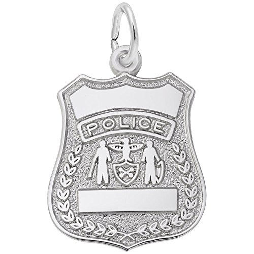 - Police Badge Charm In 14k White Gold, Charms for Bracelets and Necklaces