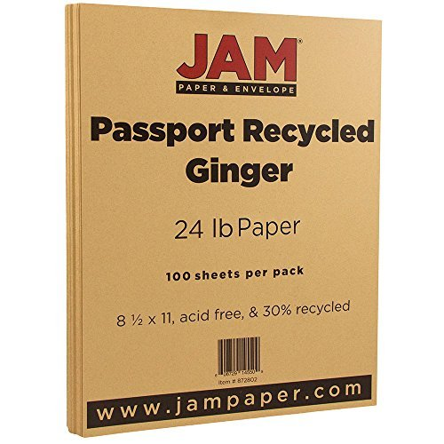 JAM PAPER Recycled 24lb Paper - 8.5 x 11 Letter - Passport Ginger - 100 Sheets/Pack