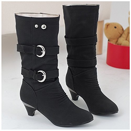 Coolcept Boots Women Belt Casual Heel On Pull Slouch Black Mid pBpan