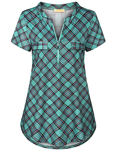 Baikea Henley Shirts for Women,Mandarin Collar Casual Cute Summer Short Sleeve Shirts Checked Print Tops Female Swing Tunic Stylish A Line Lightweight Breezy Blouse Green Large