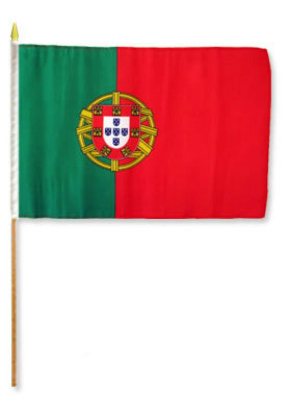 ALBATROS 12 inch x 18 inch (Pack of 12) Portugal Stick Flag with Wood Staff for Home and Parades, Official Party, All Weather Indoors Outdoors
