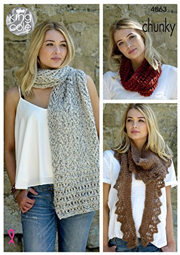 King Cole Ladies Chunky Knitting Pattern Womens Lace Scarf Lacy Shawl & Snood (4863)